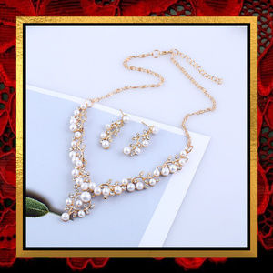 Golden Pearl & Rhinestone Necklace Set #721
